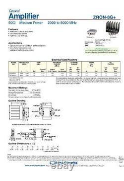 Mini-Circuits ZRON-8G+ Amplifier 50 Medium High Power 2000 to 8000MHz
