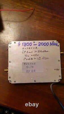RF Power Amplifier Freq Band 1800-2000 MHz Gain 21-24dB, Vcc=+9V dc, P1dB. 42dBm