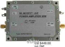 UHF Band power amplifier 90W 22dB, UHF 30W power amplifier 470-670MHz/40dB